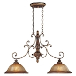 "Illuminati 2-Light 42"" Illuminati Bronze Kitchen Island Light with Silver Patina Glass 1352-177"
