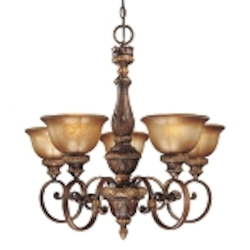 "Illuminati 5-Light 28"" Illuminati Bronze Chandelier with Silver Patina Glass 1355-177"