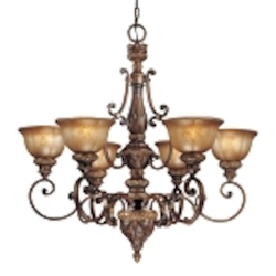 "Illuminati 6-Light 33"" Illuminati Bronze Chandelier with Silver Patina Glass 1356-177"