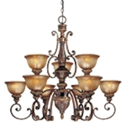 "Illuminati 9-Light 39"" Illuminati Bronze Chandelier with Silver Patina Glass 1358-177"