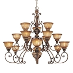 "Illuminati 15-Light 52"" Illuminati Bronze Entryway Chandelier with Silver Patina Glass 1359-177"
