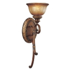"Illuminati 1-Light 23"" Illuminati Bronze Wall Sconce with Silver Patina Glass 6350-177"