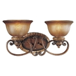 "Illuminati 2-Light 19"" Illuminati Bronze Wall Sconce with Silver Patina Glass 6352-177"