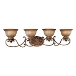 "Illuminati 4-Light 40"" Illuminati Bronze Bathbar with Silver Patina Glass 6354-177"