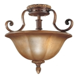 "Illuminati 3-Light 16"" Illuminati Bronze Semi-Flush Mount with Silver Patina Glass 6357-177"
