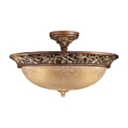 "Salon Grand Collection 3-Light 22"" Florence Patina Semi-Flush Mount with Scavo Glass 1567-477"