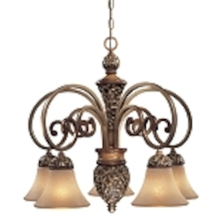 "Salon Grand Collection 5-Light 26"" Florence Patina Chandelier with Scavo Glass Shades 1575-477"