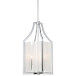 "Clarté Collection 3-Light 21"" Chrome Pendant with White Iris Glass 4392-77"