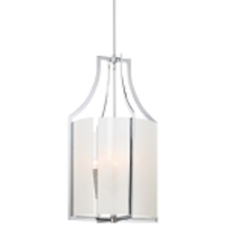 "Clarté Collection 4-Light 31"" Chrome Pendant with White Iris Glass 4394-77"