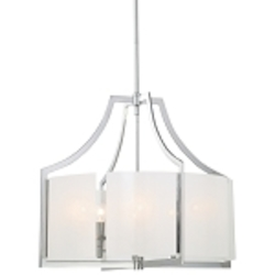 "Clarté Collection 6-Light 24"" Chrome Chandelier with White Iris Glass 4396-77"
