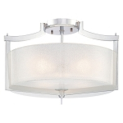 "Clarté Collection 3-Light 17"" Chrome Semi-Flush Mount with White Iris Glass 4397-77"