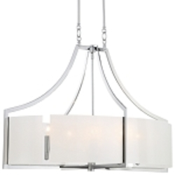 "Clarté Collection 6-Light 36"" Chrome Oval Pendant with White Iris Glass 4398-77"