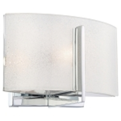 "Clarté Collection 1-Light 8"" Chrome Bathroom Vanity Fixture with White Iris Glass 6391-77"