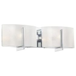 "Clarté Collection 2-Light 17"" Chrome Bathroom Vanity Fixture with White Iris Glass 6392-77"
