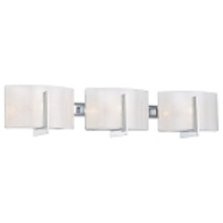 "Clarté Collection 3-Light 27"" Chrome Bathroom Vanity Fixture with White Iris Glass 6393-77"
