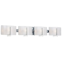 "Clarté Collection 4-Light 37"" Chrome Bathroom Vanity Fixture with White Iris Glass 6394-77"