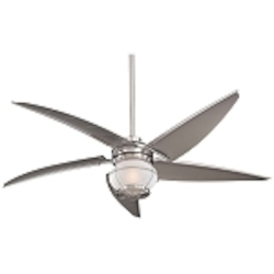 Brushed Nickel 5 Blade 60In. Indoor / Outdoor Ceiling Fan - Light, Wall Control And Blades Included