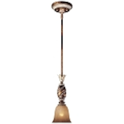 "Aston Court Collection 1-Light 6"" Bronze Mini Pendant with Avorio Mezzo Glass 1741-206"