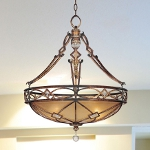 "Aston Court Collection 3-Light 29"" Bronze Pendant with Avorio Mezzo Glass with Clear Glass Accents 1747-206"