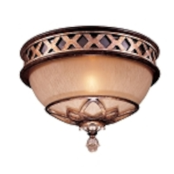 "Aston Court Collection 1-Light 11"" Bronze Flush Mount with Avorio Mezzo Glass 1754-206"