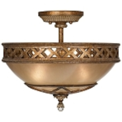 "Aston Court Collection 3-Light 15"" Bronze Semi-Flush Mount with Avorio Mezzo Glass 1757-206"
