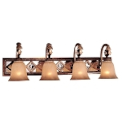 "Aston Court Collection 4-Light 34"" Aston Court Bronze Bathbar with Avorio Mezzo Glass 6744-206"