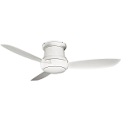 White 3 Blade 52In. Flushmount Outdoor Ceiling Fan - Light, Wall Control And Blades Included