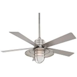 Brushed Nickel Wet 5 Blade 54In. Indoor / Outdoor Ceiling Fan - Light, Wall Control, And Blades Included