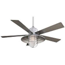 Galvanized 5 Blade 54In. Indoor / Outdoor Ceiling Fan - Light, Wall Control, And Blades Included
