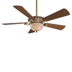 "Volterra Series 52"" Tuscan Patina Ceiling Fan with Aged Champagne Glass Light Kit F702-TSP"