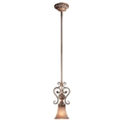 "Salon Grand Collection 1-Light 13"" Florence Patina Mini Pendant with Scavo Glass Shade 1561-477"
