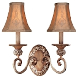 "Salon Grand Collection 2-Light 15"" Florence Patina Wall Sconce with Silk Shades 1562-477"