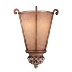 "Salon Grand Collection 2-Light 15"" Florence Patina Pocket Wall Sconce with Scavo Glass 1570-477"