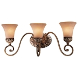 "Salon Grand Collection 3-Light 23"" Florence Patina Bath Light with Scavo Glass 5553-477"