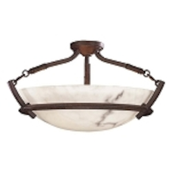 "Calavera Collection 3-Light 23"" Nutmeg Semi-Flush with Alabaster Dust Shades 1687-14"