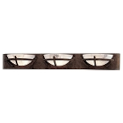 "Calavera Collection 3-Light 38"" Nutmeg Bath Vanity Fixture with Alabaster Dust Shades 6823-14"