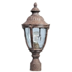 "Morrow Bay 1-Light 19"" Earth Tone Outdoor Pole/Post Mount with Water Glass 3180WGET"