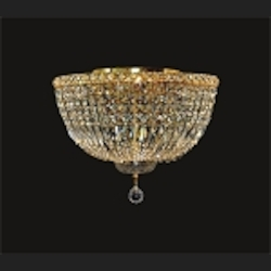 "Invisible Design 8-Light 18"" Chrome or Gold Ceiling Flush Mount with European or Swarovski Crystals SKU# 11371"