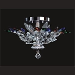 "Branch of Light Design 4-Light 21"" Chrome Multi Color Crystal Ceiling Flush Mount SKU# 11434"