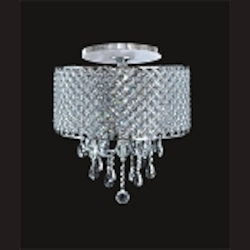 "Chrome 4-Light 18"" Flush Mount with Steel Shade and Clear Crystal SKU# 24865"