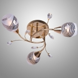 3 light Gold Semi-Flush Mount Fixture with Clear Crystals and Gold Frosted Glass Shades SKU# 2347-122