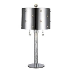 "Bling Bling Collection 2-Light 27"" Chrome Table Lamp with Crystal Accents P028-077"