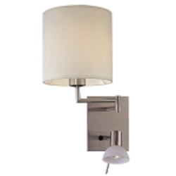 Brushed Nickel 1 Light 16in. Height Plug In Wall Sconce in Brushed Nickel from the Georgeft.s Reading Room Collection