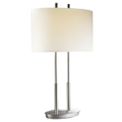 "Brushed Nickel 2-Light 27"" Table Lamp with White Linen Shade P184-084"