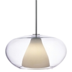 Chrome 1 Light Full Sized Pendant With Clear With Frosted White Shade From The Soft Collection