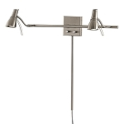 Brushed Nickel 2 Light Plug In Wall Sconce from the Second Marriage Collection