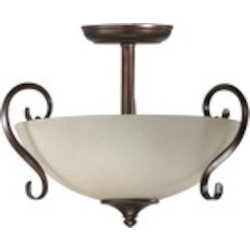 "Powell Family 14"" Toasted Sienna Dual Mount Ceiling Light 2808-15-44"