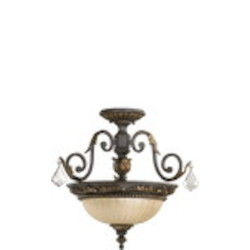 "Rio Salado Family 17"" Toasted Sienna With Mystic Silver Dual Mount Ceiling Light 2957-17-44"