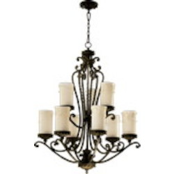 "Alameda Family 9-Light 40"" Oiled Bronze Chandelier 6086-9-86"