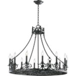 "Lorenco Family 12-Light 33"" Spanish Silver Twisted Iron Chandelier 6093-12-50"